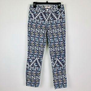 Tory Burch print crop skinny jeans